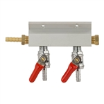 "843652 - 2-way Gas Distributor - 1/4"" barbs"