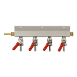 "843654 - 4-way Gas Distributor - 1/4"" barbs"