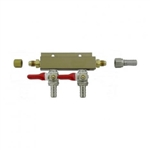 "843672 - 2-way Gas Distributor - 3/8"" barbs"
